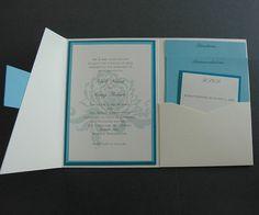 Blue Peony Wedding Invitation Design