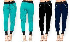 NEW Women's S M L COLORS Ankle Cuff Drawstring Jogger Pants Zipper Sweatpants in Pants   eBay