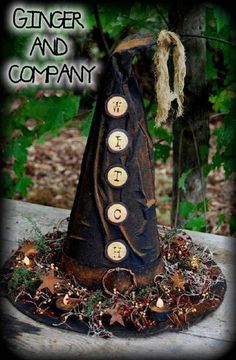 Oh you will love this new witch hat table arrangement It measures a huge 22 tall by 17 in diameter It can actually be worn by an adult I have used my head size as a guide Pattern comes with aged grommet image template and recipe for grungy tea-lites. Primitive Halloween Decor, Halloween Witch Hat, Diy Halloween Decorations, Holidays Halloween, Vintage Halloween, Halloween Diy, Happy Halloween, Witch Hats, Primitive Fall