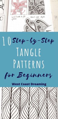 10 Step by Step Tangle Patterns for Beginners - Zentangle - Sewing Samples Dibujos Zentangle Art, Zentangle Drawings, Doodles Zentangles, Zentangle For Beginners, Doodle For Beginners, Easy Zentangle Patterns, Zen Doodle Patterns, Simple Patterns To Draw, Art Patterns