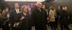 PHOTO: Democratic presidential candidate, Sen. Bernie Sanders, I-Vt., and wife Jane walk in Times Square on their way to see the Broadway show Hamilton, Friday, April 8, 2016, in New York.