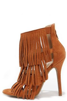 Gypsy Queen Whisky Suede Fringe Dress Sandals at Lulus.com!