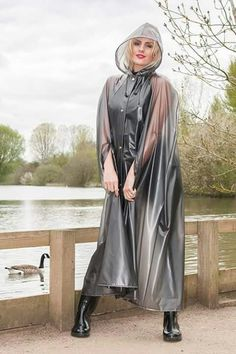 Large range of womens high fashion, designer and everyday rainwear. British manufactured high quality trenchcoats, capes, jackets overtrousers and a full range of festival clothing. Vinyl Raincoat, Green Raincoat, Plastic Raincoat, Plastic Pants, Hooded Raincoat, Long Raincoat, Hooded Cloak, Outfit, Boots