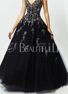 Floor-length Black Satin Halter Ball Gown With Appliques
