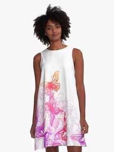 Beautiful summer dress. Super great fit for all body types. (  #dress, #dresses, #dresspatterns, #dresslovers, #Alinedress, #summerdress  #butterflies )