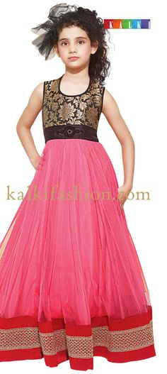 Buy it now  http://www.kalkifashion.com/pink-gown-with-embroidered-brooch.html  Pink gown with embroidered brooch