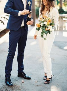 Chic pantsuits are a fashion-forward alternative to a dress that we can't get enough of! See more trends here: http://www.stylemepretty.com/2015/09/21/7-must-see-wedding-dress-trends-hidden-in-the-vault/