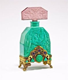 Czech jeweled malachite glass perfume bottle by Hoffmann, 1920s