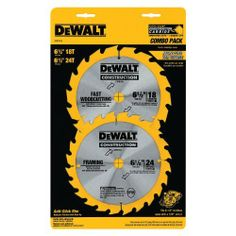 DEWALT DW9158 6-1/2-Inch Cordless Construction Saw-Blade Combo Pack with 18- and 24-Tooth Saw Blades - http://www.henryspowertools.com/shop-2/dewalt-dw9158-6-12-inch-cordless-construction-saw-blade-combo-pack-with-18-and-24-tooth-saw-blades/