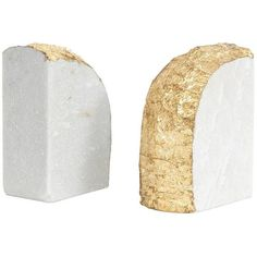 Jayson Home Gold Rock Bookend White Marble With Metallic Gold Edge By (88 AUD) ❤ liked on Polyvore featuring home, home decor, bookends, jayson home, gold home decor, metallic home decor, music home decor and gold home accessories
