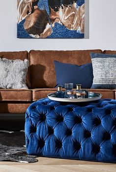 Velvet not only feels cuddly soft, it also looks . Navy Living Rooms, Home Living, Cushion Source, Pantone Color, Blue Velvet, Leather Sofa, Furniture Design, Cushions, Interior