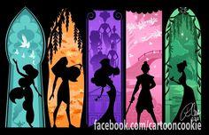 Jasmine, Pocahontas, Megara, Mulan, Tiana.