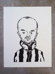 John Peel portrait in linocut by linocutboy on Etsy, £20.00