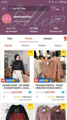 Best Online Clothing Stores, Online Shopping Sites, Online Shopping Clothes, Casual Hijab Outfit, Casual Outfits, Fashion Outfits, Online Shop Baju, Muslim Fashion, Korean Fashion