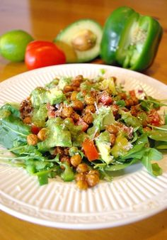 Taco Salad with Cilantro Lime Dressing (and roasted chickpeas!) from Deconstructing the Home