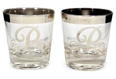 Silver Monogrammed Glass Tumblers, Pair $95