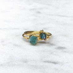 Emerald Ring Stacking Ring Raw Crystal Ring May Birthstone
