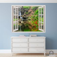 Wall mural Lake and waterfall. Beautiful landscape of a small waterfall that flows into a quiet river. Wall Murals, Wall Art, Window Wall, Decoration, Wall Stickers, Home And Garden, Poster Xxl, Windows, Doors