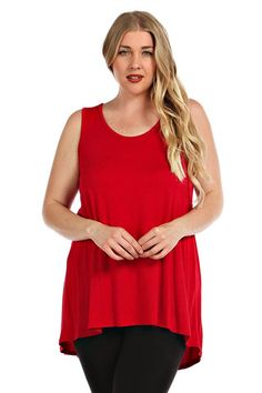 Plus Size Tank Tunic. Red, black, navy