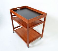 Teak Bar Cart Rolling tea cart  butlers tray by HearthsideHome, $449.00/ the top comes off and is reversible!!
