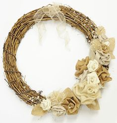DIY Burlap Rose Wreath - love the idea of burlap & lace or tulle roses!