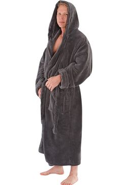 7a54fb4431 Del Rossa Men s Classic Fleece Hooded Bathrobe Robe
