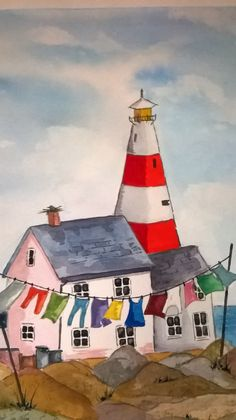 Lighthouse Copy painted Feb 2014 at Firth Homes Art Group (watercolour) Watercolor Mermaid, Watercolor Paintings, Lighthouse Painting, Mini Canvas Art, Affinity Designer, Naive Art, Driftwood Art, Art Challenge, Learn To Paint