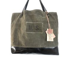 US MILITARY TOTE Bag Leather & Canvas Large Carry by TnBCdesigns