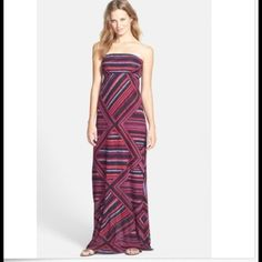 JUST IN! FELICITY & COCO Strapless Jersey Maxi NWT This beautiful strapless Nordstrom FELICITY & COCO maxi dress has vibrant color that enriches the gorgeous, fun pattern of the snubbed jersey maxi, shaped by an elastic iced empire seam that releases the fluid straight-cut skirt.  Is partially lined, 95% viscose, 5% spandex.  Dry clean or hand wash cold, lay flat to dry. Size XS (fits sizes 2-4).  Retails for $78-Get it from my closet for $30 off! NWT FELICITY & COCO Dresses