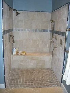 images of roll in showers - Bing images Ada Bathroom, Handicap Bathroom, Bathroom Layout, Modern Bathroom Design, Bathroom Interior Design, Small Bathroom, Bathroom Ideas, Roll In Showers, Shower Remodel
