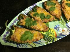 Easy Refried Bean Poblanos With Cheese