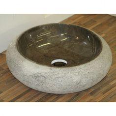 Vasque moon en marbre , diametre 45 cm