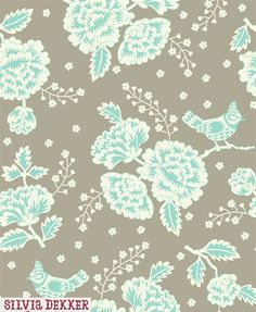 Bird and floral pattern by Silvia Dekker for Hema