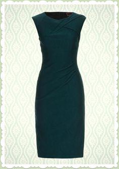 Voodoo Vixen Vintage 50s Basic Pin Up Pencil Dress 50er Rockabilly Etui Kleid Grün