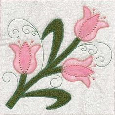 ©Skeldale House, ITH Applique' Quilt Blocks Tulips 3
