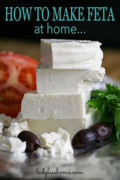 How to make feta cheese at home. A step by step picture tutorial and a recipe for homemade feta. How to make feta cheese at home. A step by step picture tutorial and a recipe for homemade feta. Homemade Feta Cheese Recipe, Feta Cheese Recipes, Goat Milk Recipes, Greek Recipes, Fromage Vegan, Butter Cheese, Goat Cheese, How To Make Cheese, Making Cheese At Home