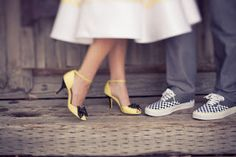 Love these yellow shoes! Groomsmen Shoes, Groom Shoes, Yellow Wedding Shoes, Yellow Shoes, Tea Length Wedding Dress, Bridal Shoes, My Style, How To Wear, Clothes