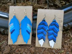 Recycled Bicycle bike Tube Painted Feather by maybirdjewelry, $18.00