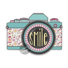 Retro Camera Decal - Colorful Vintage Retro Camera Bumper Sticker Laptop Decal Teal Vintage Flowers Smile Cute Car Decal Hippie Boho Photo