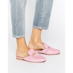 ASOS MOVIE Leather Mule Loafers ($52) ❤ liked on Polyvore featuring shoes, loafers, pink, leather shoes, leather slip on shoes, leather mules, flat pumps and leather slip-on shoes
