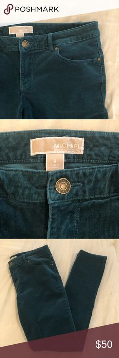 Michael Kors Teal Corduroy Skinny Jeans Excellent used condition ⭐️  MICHAEL Michael Kors teal blue corduroy skinny jeans. Fabric is 98% cotton and 2% spandex so definitely has stretch to it. Size 8.  Features four pockets and Michael Kors metal details, including name plate on back right pocket. Only sign of wear is slight fraying under one belt loop. Michael Kors Jeans Skinny