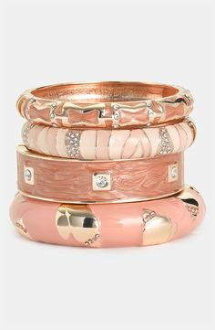 #Sequin Bangles Rosy hues romance a lovely stack of mixed bangles.