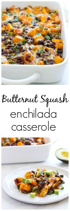 Butternut Squash Enchilada Casserole- a comforting vegetarian meal that everyone…
