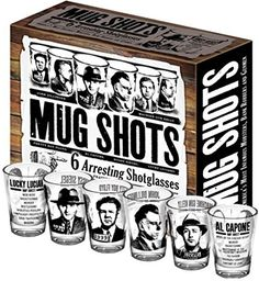 Mug Shots  6 Piece Shot Glass Set of Famous Gangster Mugshots Comes in a Colorful Gift Box  by The Unemployed Philosophers Guild ** Be sure to check out this awesome product. Note:It is Affiliate Link to Amazon.