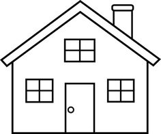 Any simple drawing is good for coloring dictation.::Outline of a house for dictation to children.