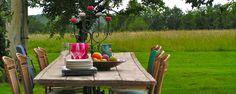Outdoor dining space at Villa Bellevue, near Bordeaux.