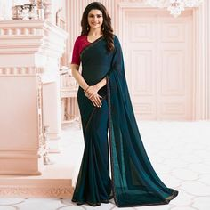 Buy Delightful Blue Colored Party Wear Designer Silk Saree at Rs. Get latest Partywear saree ✓Genuine Products ✓ Easy Returns ✓ Best Pricing Maroon Saree, Blue Saree, Designer Silk Sarees, Designer Sarees Online, Fancy Sarees, Party Wear Sarees, Wedding Sarees Online, Prachi Desai, Silk Saree Blouse Designs