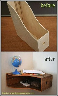 wooden magazine organizer turned into a shelf!