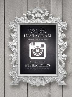 Customizable Wedding Instagram Sign Chalk board di GardellaGlobal