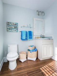 Use storage baskets to corral towels and bath-time essentials >> http://www.diynetwork.com/blog-cabin/blog-cabin-2013-guest-bathroom-pictures/pictures/index.html?soc=bc